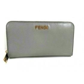 【中古】 フェンディ FENDI 長財布 美品 - 8M0024 グレー ラウンドファスナー レザー