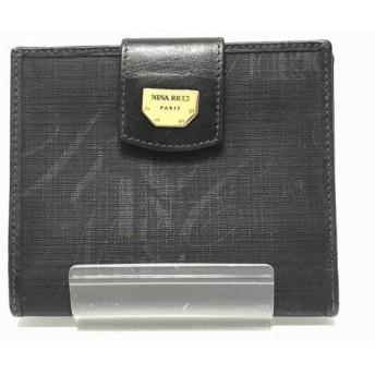 【中古】 ニナリッチ NINARICCI 2つ折り財布 黒 がま口 PVC(塩化ビニール) レザー