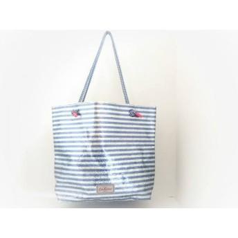 【中古】 キャスキッドソン トートバッグ 美品 ブルー シルバー ボーダー/ラメ PVC(塩化ビニール)