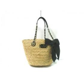 【中古】 ケイトスペード Kate spade ショルダーバッグ 美品 PXRU2330 ベージュ 黒 かごバッグ/リボン
