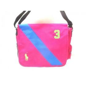 【中古】 ポロラルフローレン ショルダーバッグ 美品 ビッグポニー ピンク ブルー マルチ ナイロン