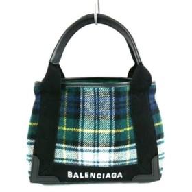 【中古】 バレンシアガ BALENCIAGA トートバッグ ネイビーカバXS 390346 カーキ 黒 マルチ チェック柄