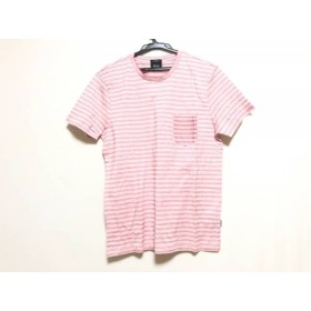 【中古】 ヒューゴボス HUGOBOSS 半袖Tシャツ サイズS メンズ 美品 レッド 白 ボーダー