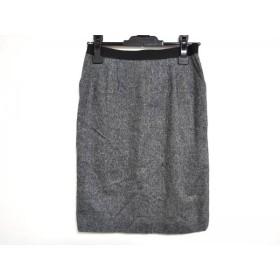 【中古】 ランバンコレクション スカート サイズ38 M レディース 黒 白 マルチ ゴムウェスト