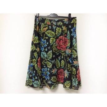 【中古】 レリアン Leilian スカート サイズ11 M レディース 黒 マルチ 花柄