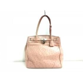 【中古】 ファルチ ニューヨーク Falchi New York ハンドバッグ ピンク オーストリッチ