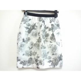 【中古】 ジャスグリッティー JUSGLITTY ミニスカート サイズ0 XS レディース 美品 白 グレー 花柄
