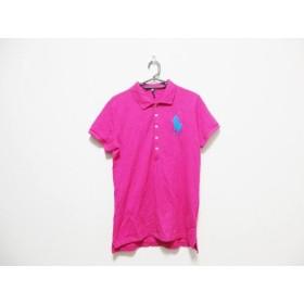 【中古】 ラルフローレン 半袖ポロシャツ サイズL レディース ビッグポニー ピンク ブルー 刺繍