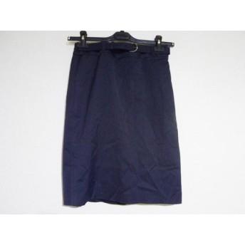 【中古】 ニジュウサンク スカート サイズ38 M レディース 美品 ダークグレー ライトグレー ストライプ