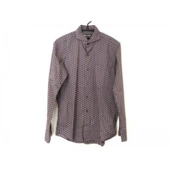 【中古】アクアスキュータム Aquascutum 長袖シャツ サイズS メンズ 美品 ダークネイビーx白