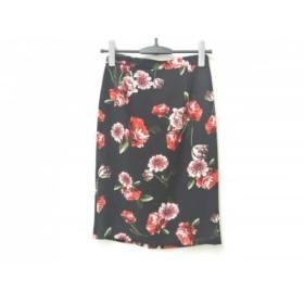【中古】ピンキー&ダイアン Pinky & Dianne スカート サイズ36 S レディース 黒xレッドxマルチ 花柄