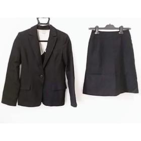 【中古】 ナチュラルビューティー ベーシック スカートスーツ レディース 黒 ブルー ストライプ