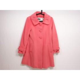 【中古】 レストローズ L'EST ROSE コート サイズ1 S レディース ピンク リボン/冬物