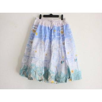 【中古】フランシュリッペ スカート サイズFL5 レディース 美品 白xライトパープルxライトブルー