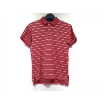 【中古】 ラルフローレン RalphLauren 半袖ポロシャツ サイズS メンズ ブラウン 白 ボーダー