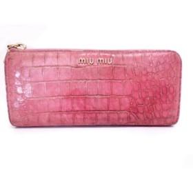 【中古】 ミュウミュウ miumiu 長財布 - ピンク 型押し加工/L字ファスナー レザー