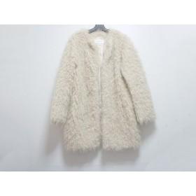【中古】 マウジー moussy コート サイズ2 M レディース 美品 ベージュ フェイクファー/冬物