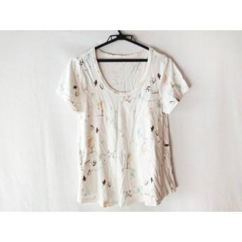 【中古】 フランシュリッペ franchelippee 半袖Tシャツ サイズM レディース 白 ダークブラウン マルチ