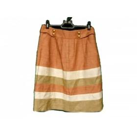 【中古】 ジャスグリッティー スカート サイズ2 M レディース オレンジ アイボリー ライトブラウン