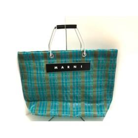 【中古】 マルニ MARNI トートバッグ 美品 フラワーカフェ ブルー ブラウン グリーン チェック柄