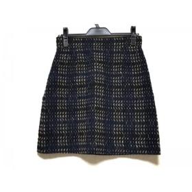 【中古】 アマカ AMACA スカート サイズ36 S レディース 黒 ダークネイビー ライトブラウン チェック柄