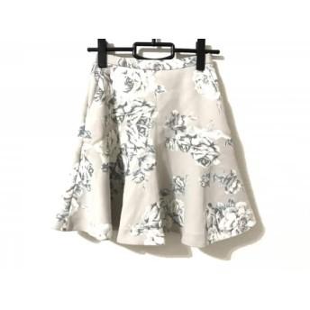 【中古】 フレイアイディー ミニスカート サイズ0 XS レディース 美品 ライトグレー 白 グレー 花柄