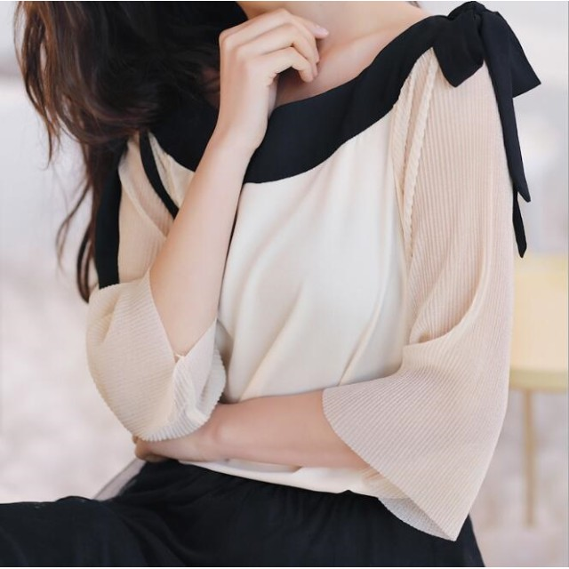 オフショルダーブラウスリボン付き/7分袖/トップス/韓国ファッション