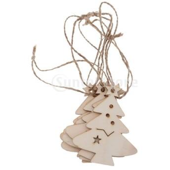 6個 クリスマスツリー 装飾 木製 ペンダント クリスマスツリー装飾 DIY ジュートロープ 飾り ぶら下げ 5タイプ - クリスマスツリー