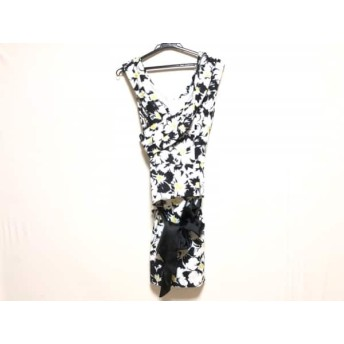 【中古】 ジーンマクレーン JEAN MACLEAN ワンピース サイズ9B レディース 白 黒 イエロー 花柄