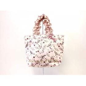 【中古】 メゾンドフルール Maison de FLEUR トートバッグ 美品 ピンク マルチ 花柄/フリル/リボン