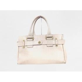 【中古】 サマンサタバサニューヨーク Samantha Thavasa New York ハンドバッグ ベージュ 型押し加工 合皮
