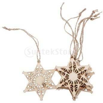 Perfeclan 6個 クリスマスツリー 装飾 木製 ペンダント クリスマスツリー装飾 DIY ジュートロープ 飾り ぶら下げ 5タイプ - スター