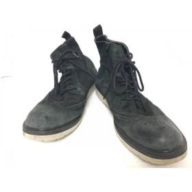 【中古】 ハイダウェイニコル HIDEAWAYS NICOLE ショートブーツ 27.5 メンズ ダークグリーン 黒 スエード