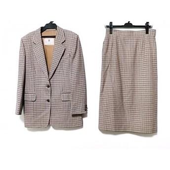 【中古】 アクアスキュータム スカートスーツ サイズM レディース 美品 ベージュ 黒 ダークブラウン