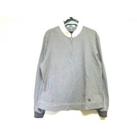 【中古】 ケンゾー 長袖ポロシャツ サイズ2 M レディース 美品 白 ネイビー ストライプ/ジップアップ