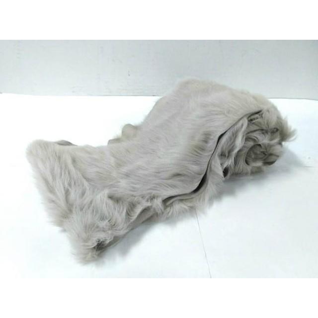 【中古】 カールドノヒュー Karl Donoghue マフラー 美品 ライトグレー 羊革
