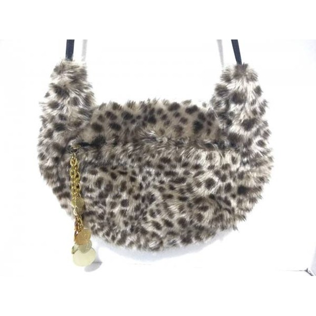 【中古】 ツモリチサト ショルダーバッグ ベージュ ダークブラウン 黒 豹柄 化学繊維 レザー