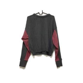 【中古】 ロージーモンスター 長袖セーター サイズF レディース 美品 ダークグレー レッド リボン