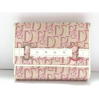 【中古】 ピンキー&ダイアン 3つ折り財布 ピンク ベージュ 白 がま口 ジャガード レザー 金属素材