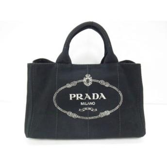 【中古】 プラダ PRADA トートバッグ 美品 CANAPA 1BG642 黒 キャンバス
