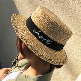 ハット - CELL 刺繍麦ワラカンカン帽 ストローハット HAT 帽子 おしゃれハット 2019新作