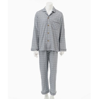 綿100%日本製ラインチェック 長袖テーラードパジャマ(3112B) グレー 【三越・伊勢丹/公式】