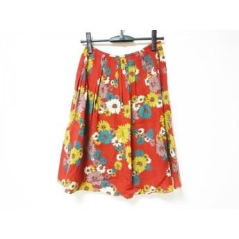 【中古】 ホコモモラ JOCOMOMOLA スカート サイズ40 XL レディース レッド ダークブラウン マルチ 花柄