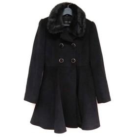 【中古】 セシルマクビー CECILMcBEE コート サイズM レディース 美品 黒 冬物/フェイクファー