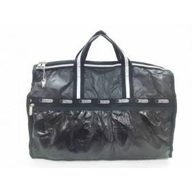 【中古】 レスポートサック ボストンバッグ 黒 アイボリー 2WAY/ラメ レスポナイロン 化学繊維
