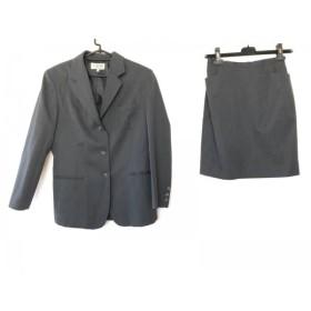 【中古】 ヴァンドゥ オクトーブル スカートスーツ サイズ40 M レディース 美品 ダークグレー 肩パッド
