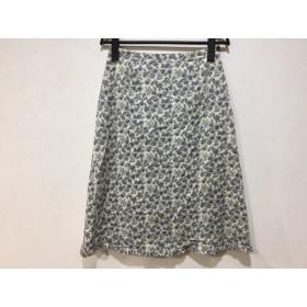 【中古】 スキャパ Scapa スカート サイズ38 L レディース アイボリー ダークグレー 花柄