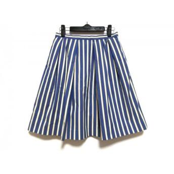 【中古】 ティアラ Tiara スカート サイズ4 XL レディース 美品 ブルー 白 イエロー ストライプ