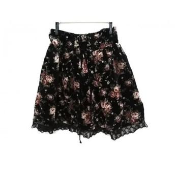【中古】 アクシーズファム axes femme スカート サイズM レディース 黒 レッド マルチ 花柄