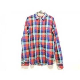 【中古】 トミー TOMMY 長袖シャツ サイズXL メンズ 赤 ブルー パープル マルチ チェック柄 綿